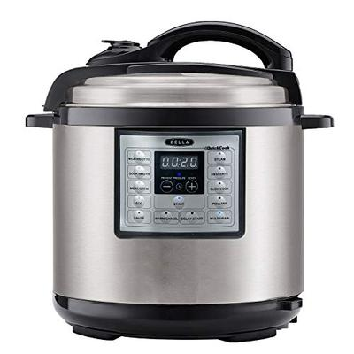 BELLA (14719) 6 Quart Pressure Cooker Multifunction Electric Cooker with One-Touch Digital Presets &