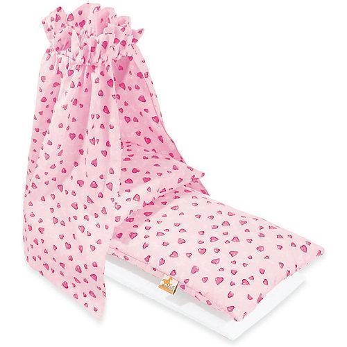 Puppenbettzeug Puppenwiegen mit Himmel 'Herzchen', rosa, 4-tlg. Kleinkinder