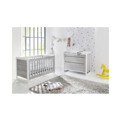 Sparset CURVE, (Kinderbett und Wickelkommode), Esche grau