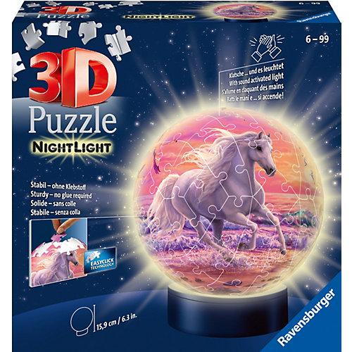 2in1 Nachtlicht & Puzzleball® Ø13 cm, 72 Teile , Pferde am Strand