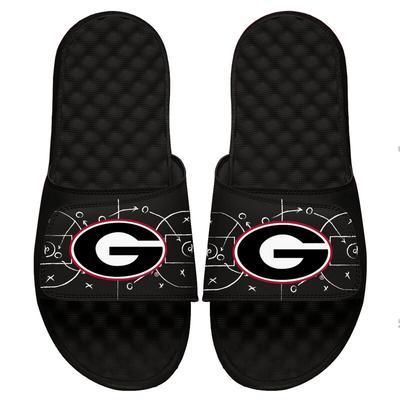 Georgia Bulldogs ISlide Chalk Court Slide Sandals - Black