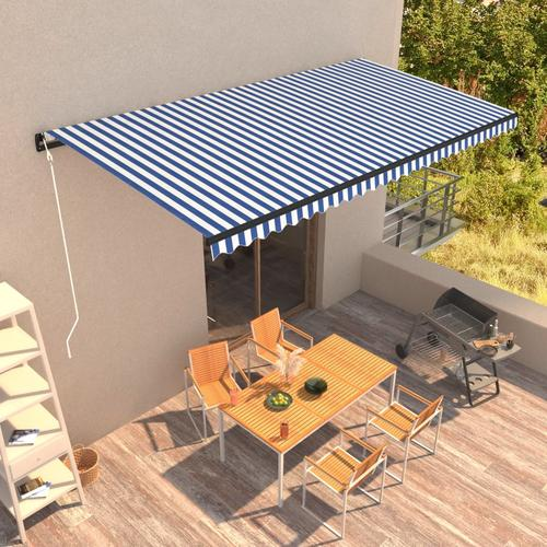 vidaXL Automatisch Einziehbare Markise 600 x 300 cm Blau und Weiß