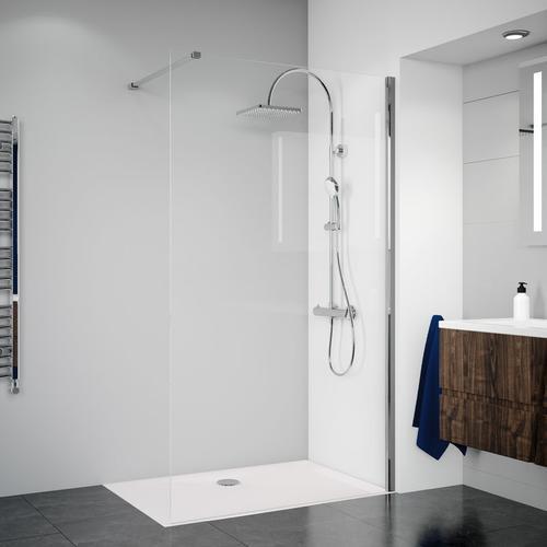 Breuer Dusche Panorama Duschwand alleinstehend - Walk-IN 100 cm inkl. CER+ Beschichtung