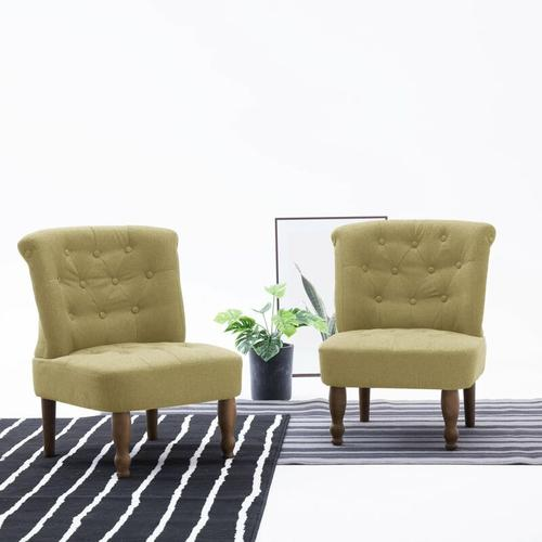 Französischer Stuhl Stoff Grün 2 Stk.