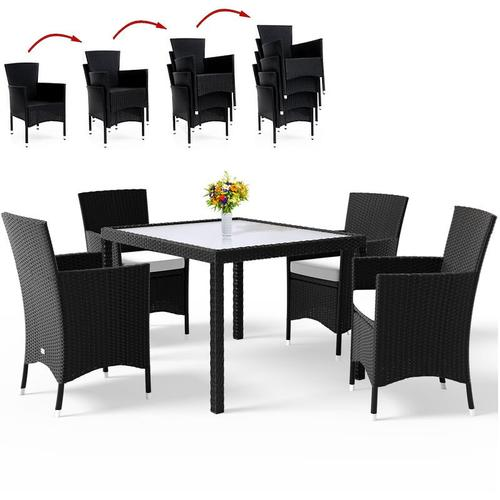 Poly Rattan 4+1 Sitzgarnitur stapelbare Stühle 7cm dicke Auflagen wetterfestes Polyrattan