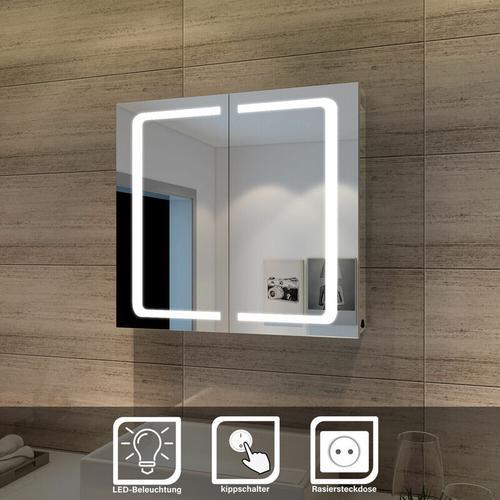 LED Spiegelschrank Badezimmerspiegel Badschrank mit Beleuchtung 70x65cm 2-t