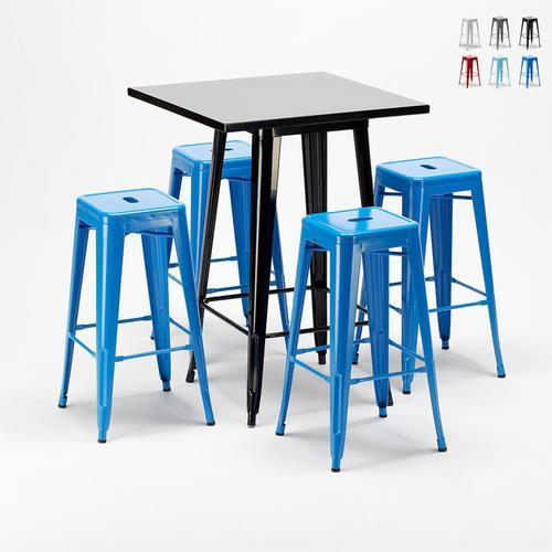 Hoher Tisch und 4 Metallhocker Industrielle Im Tolix-Stil New York-Bar | Farbe: Blau