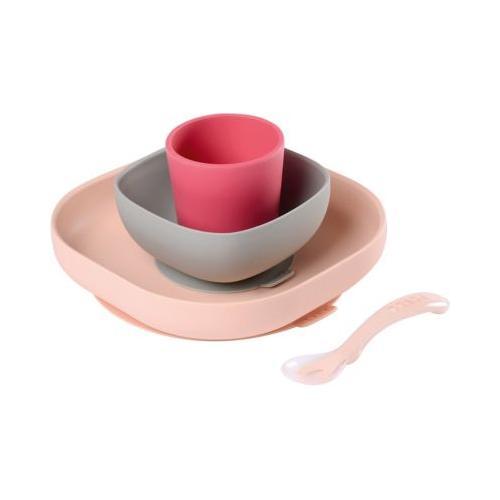 Geschirrset aus Silikon, 4-tlg., rosa