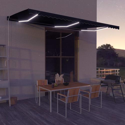 vidaXL Einziehbare Markise mit Windsensor & LED 500x300cm Anthrazit