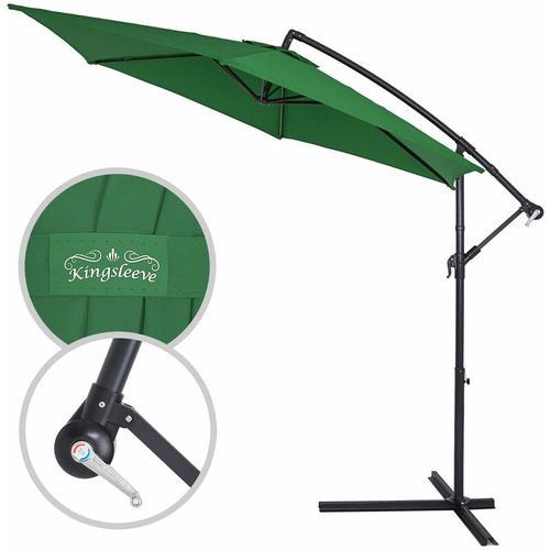Sonnenschirm Ampelschirm ALU Ø300cm-330cm Marktschirm Kurbelschirm Gartenschirm grün, 350cm