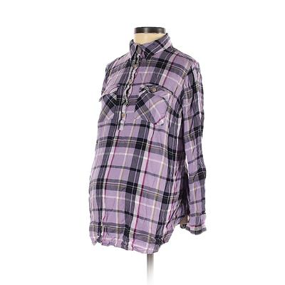 Isabel Maternity 3/4 Sleeve Blouse: Purple Plaid Tops - Size X-Small Maternity