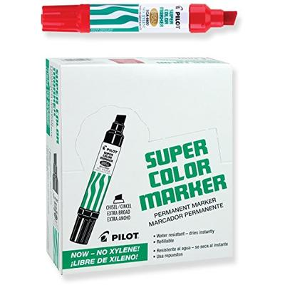 PILOT Super Color Jumbo Refillable Permanent Markers, Xylene-Free Red Ink, Extra-Wide Chisel Point,