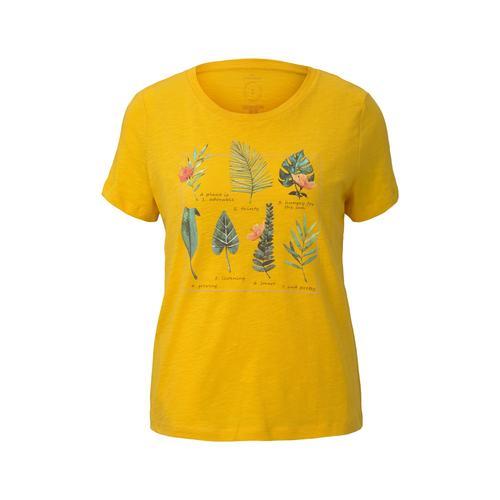 TOM TAILOR Damen T-Shirt mit Collagen-Print, gelb, Gr.XL