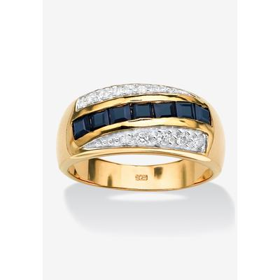 Men's Gold over Sterling Silver Sapphire and Cubic Zirconia Ring by PalmBeach Jewelry in Sapphire (Size 16)