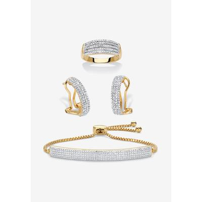 """18K Gold-Plated Diamond Accent Demi Hoop Earrings, Ring and Adjustable Bolo Bracelet Set 9"""" by PalmBeach Jewelry in Gold (Size 6)"""
