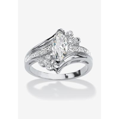 Silver Tone Marquise Cut Engagement Ring Cubic Zirconia by PalmBeach Jewelry in Silver (Size 6)