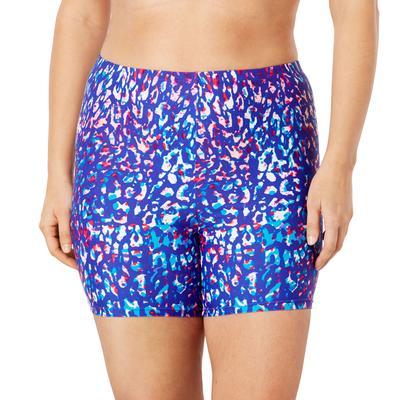 Plus Size Women's Chlorine Resistant Bike Short by Swim 365 in Multi Leopard Print (Size 14)