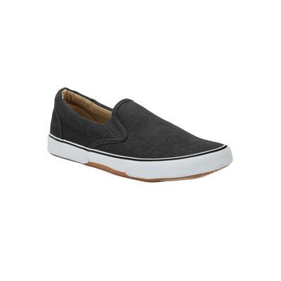 Men's Canvas Slip-On Shoes by KingSize in Black (Size 16 M)