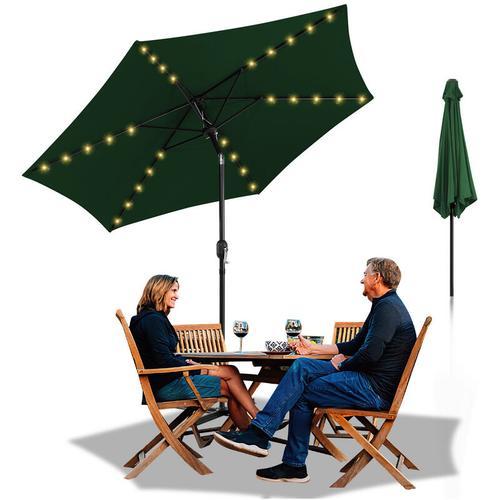 Sonnenschirm Ø300cm Alu Marktschirm Gartenschirm mit Warmweiß Solar-Beleuchtung Terrassenschirm UV