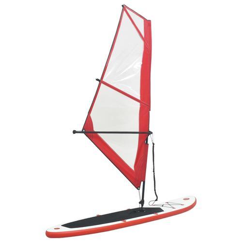 vidaXL Aufblasbares Stand-Up-Paddleboard Set mit Segel Rot und Weiß