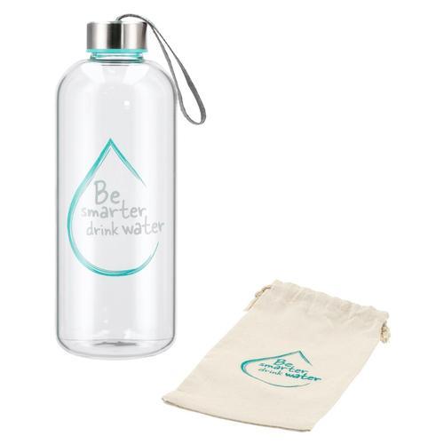 Xavax Glasflasche, 1l, Wasserflasche aus Borosilikatglas blau Kinder Aufbewahrung Küchenhelfer Haushaltswaren Schulartikel