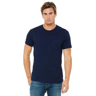 Bella + Canvas 3021 Men's Jersey Short-Sleeve Pocket T-Shirt in Navy Blue size Large   Cotton