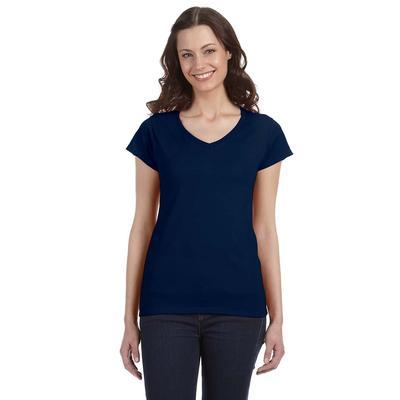 Gildan G64VL Women's SoftStyle 4.5 oz. Fitted V-Neck T-Shirt in Navy Blue size Large | Cotton G64V00L, 64V00L