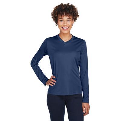Team 365 TT11WL Women's Zone Performance Long-Sleeve T-Shirt in Sport Dark Navy Blue size XS | Polyester