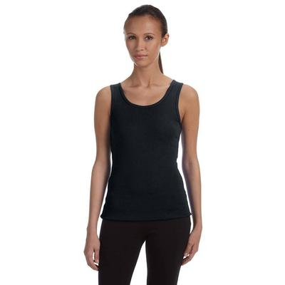 Bella + Canvas 1080 Women's Baby Rib Tank Top in Black size Medium | Cotton