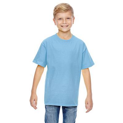 Hanes 498Y Youth 4.5 oz. Ringspun Cotton nano-T T-Shirt in Light Blue size XL