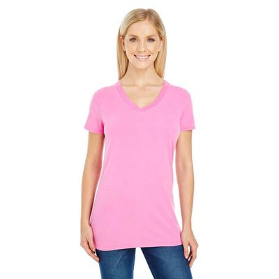 Threadfast Apparel 230B Women's Pigment-Dye Short-Sleeve V-Neck T-Shirt in Charity Pink size Medium | Cotton/Polyester Blend