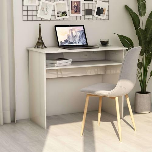 vidaXL Schreibtisch Hochglanz-Weiß 90×50×74 cm Spanplatte