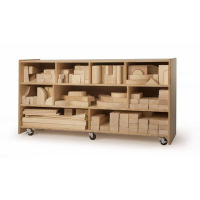 Whitney Brothers 170 Piece Hardwood Quarter School Block Set with Rounded Edges and Natural Wood Fin