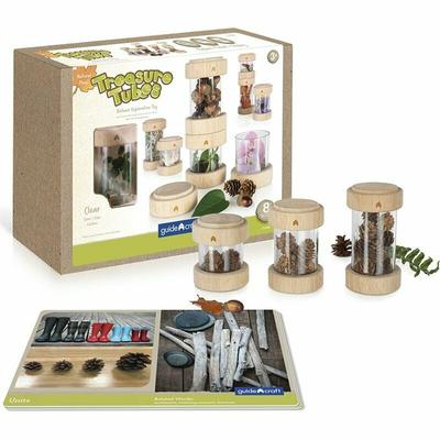 Guidecraft 8 Piece Treasure Tube Set in Nature and Clear