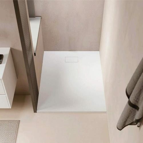 Duschwanne bodengleich PIATTO aus SoliCast® weiß 80 cm x 140 cm