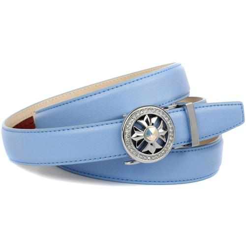 Anthoni Crown Ledergürtel, in hellblau mit Kristall-Glas-Schnalle blau Damen Ledergürtel Gürtel Accessoires