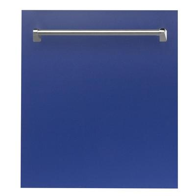 ZLINE Kitchen and Bath 24 in. Top Control Dishwasher in Blue Matte with Stainless Steel Tub and Trad