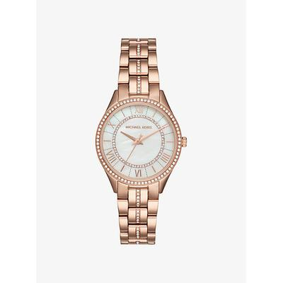 Michael Kors Mini Lauryn Pave Rose Gold-Tone Watch ONE SIZE