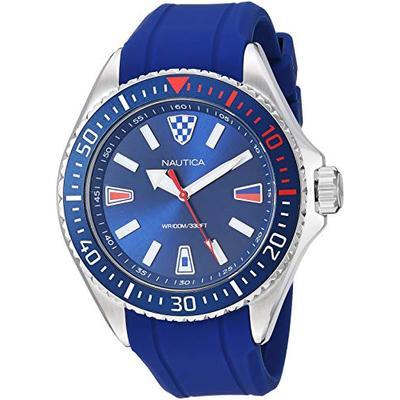 Nautica Men's NAPCPS901 Crandon Park Blue/Silver Silicone Strap Watch