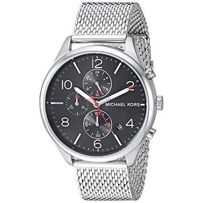 Michael Kors Men's Merrick Analog-Quartz Watch with Stainless-Steel Strap, Silver, 20 (Model: MK8644