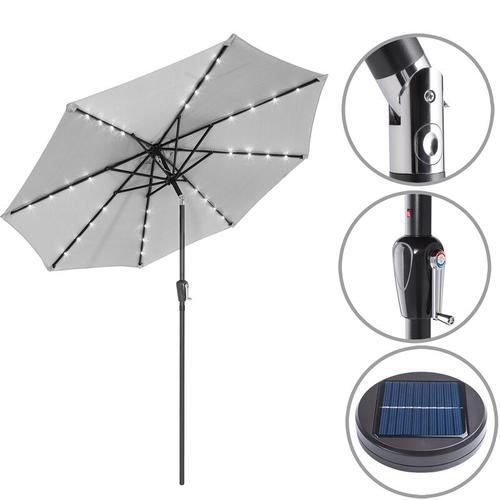 Sonnenschirm ALU 24 LED Kurbel Solar Ø270cm Marktschirm Gartenschirm Schirm hellgrau