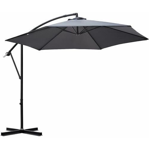 Sonnenschirm Ampelschirm Marktschirm Kurbelsonnenschirm Ø300cm UV-Schutz 50+, Grau