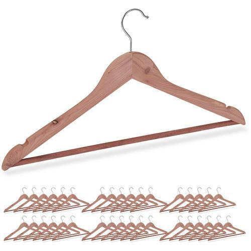 Relaxdays - 36 x Kleiderbügel Zedernholz, Mottenschutz im Kleiderschrank, edles Design, eingekerbt,
