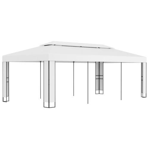 vidaXL Pavillon mit Doppeldach 3 x 6 m Weiß
