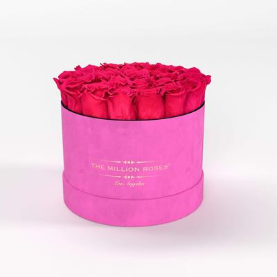 Roses | Hot Pink Suede Box - The Million Roses®