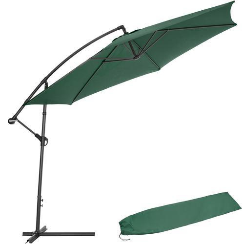 Tectake Sonnenschirm Ampelschirm Ø 350cm mit Schutzhülle grün