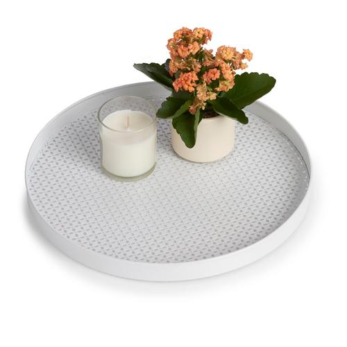 Zeller Present Tablett, (1 tlg.), Ø 35 cm weiß Tablett Tischaccessoires Geschirr, Porzellan Haushaltswaren