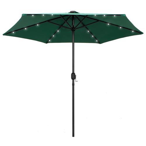 vidaXL Sonnenschirm mit LED-Leuchten & Aluminium-Mast 270 cm Grün