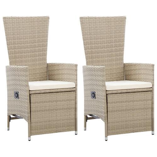 vidaXL Garten-Liegestühle 2 Stk. mit Auflagen Poly Rattan Beige