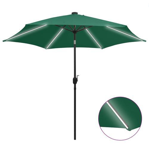 vidaXL Sonnenschirm mit LED-Leuchten & Aluminium-Mast 300 cm Grün